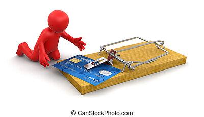kártya, hitel, egérfogó, ember