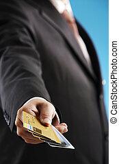 kártya, hitel, ember, számos, előadás