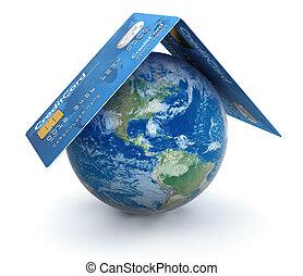 kártya, hitel, földgolyó