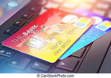 kártya, hitel, laptop billentyűzet