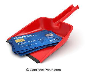 kártya, hitel, szemétlapát