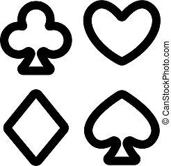 kártya, ikon, körvonal, illeszt, jelkép, elszigetelt, vector., ábra