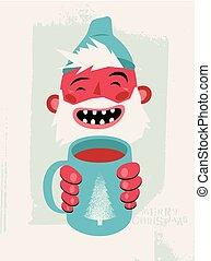 kártya, ital, szakállas, övé, illustration., szüret, fog, nevető, csípős, karikatúra, vagy, bögre, vektor, retro, poszter, ember, karácsony, hands., design.
