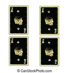 kártya, játék, két, 4