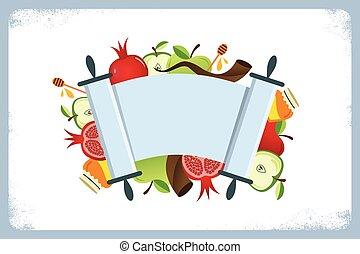 kártya, jelkép, ünnep, hashana, zsidó, hagyományos, rosh