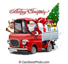kártya, karácsony, karikatúra, csereüzlet, retro