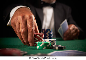 kártya, kaszinó, játékos, játékpénz, hazárdjáték