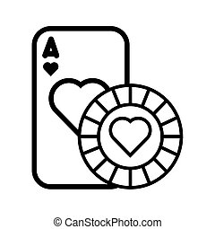 kártya, kaszinó kicsorbít, szív, piszkavas, elszigetelt, ikon