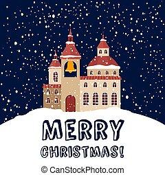 kártya, keresztény, karácsony, hóesés, templom