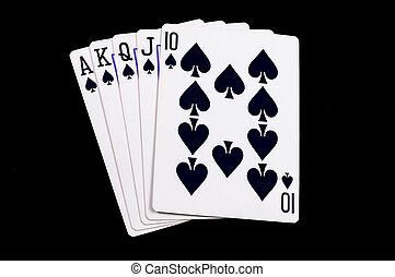 kártya, királyi, elszigetelt, pirul