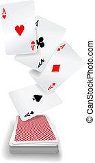 kártya, kitűnőség, piszkavas, játék, fedélzet