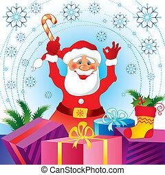 kártya, klaus, karácsony, szent