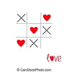 kártya, lakás, megjelöl, szív, tac, játék, aláír, arcrángatózás, tervezés, szeret, lábujj, elszigetelt, kereszt