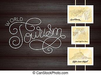 kártya, luxembourg., világ, idegenforgalom, saint-michel., mont, város, vektor, illustration., háttér., sketching., silhouette., utazás, lettering., művészet, erdő, egyenes, franciaország, saint-paul-de-vence