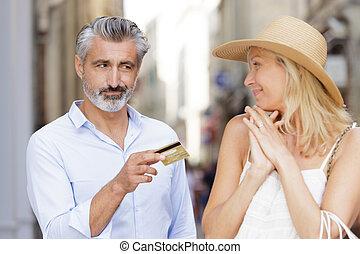 kártya, nő, odaad, férj, hitel