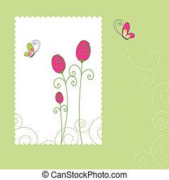 kártya, nyár, virágos, köszönés, eredet