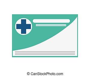 kártya, orvosi, ikon, biztosítás