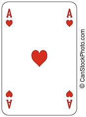 kártya, szív, piszkavas, játék, ász