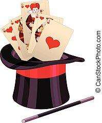 kártya, varázslatos becsap, tető kalap, játék