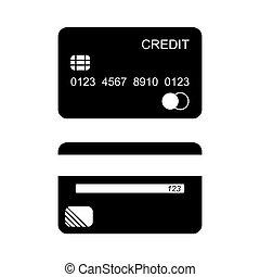 kártya, vektor, hitel