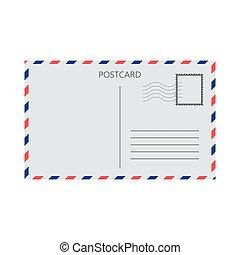 kártya, vektor, white háttér, elszigetelt, postai