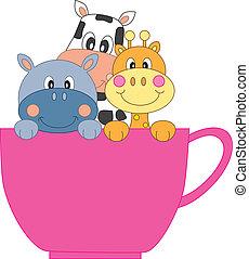 kávécserje, állatok, csésze