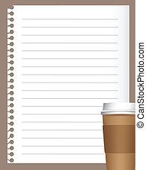 kávécserje, dolgozat, jegyzetfüzet