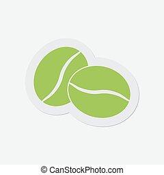 kávécserje, egyszerű, -, két, zöldbab, ikon