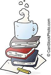 kávécserje, előjegyez, karikatúra, csésze