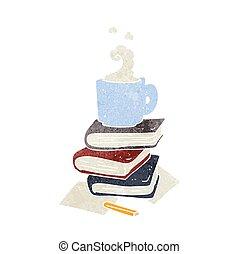 kávécserje, előjegyez, retro, karikatúra, csésze