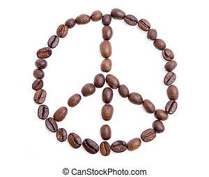 kávécserje, elkészített, jelkép, béke, bab, ki