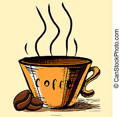 kávécserje fej, két, csésze