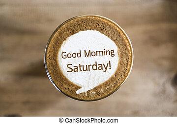 kávécserje, fogalom, művészet, reggel, jó, facsemete, szombat