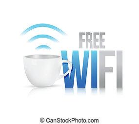 kávécserje, fogalom, wifi, ábra, bögre, tervezés, szabad