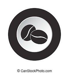kávécserje, gombol, -, két, bab, fekete, fehér, kerek, ikon