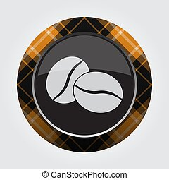 kávécserje, gombol, -, két, narancs, fekete, tartán, bab
