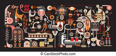 kávécserje, gyár, ábra, vektor