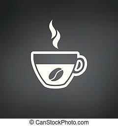 kávécserje, illustration., csésze, bab, vektor, ikon