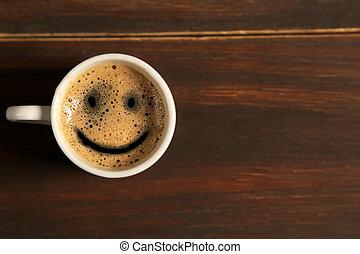 kávécserje, jó, csésze, fából való, reggel, háttér, mosoly
