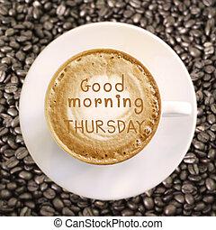 kávécserje, jó, csütörtök, reggel, csípős, háttér