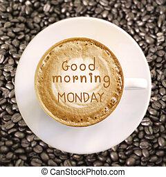 kávécserje, jó, hétfő reggel, csípős, háttér