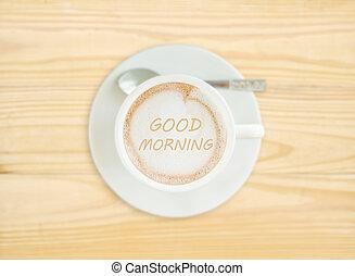 kávécserje, jó reggelt, csésze