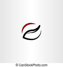kávécserje, jelkép, vektor, tervezés, jel, egyenes, ikon