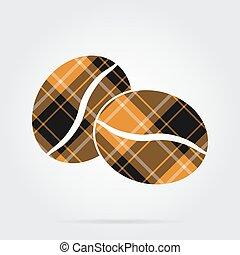 kávécserje, -, két, narancs, fekete, tartán, bab, ikon