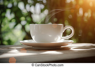 kávécserje, kert, reggel