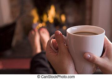 kávécserje, lábak, hatalom kezezés, kandalló, melegítés