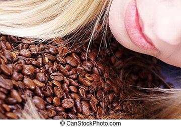 kávécserje, nő, bab, szaglás
