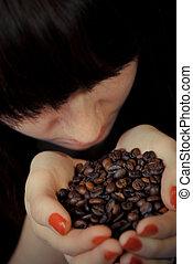kávécserje, nő, fiatal