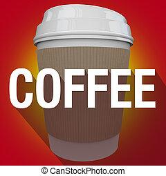 kávécserje, szó, csésze, hosszú, műanyag, csípős ital, árnyék
