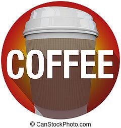 kávécserje, szó, csésze, hosszú, műanyag, fóka, árnyék, karika